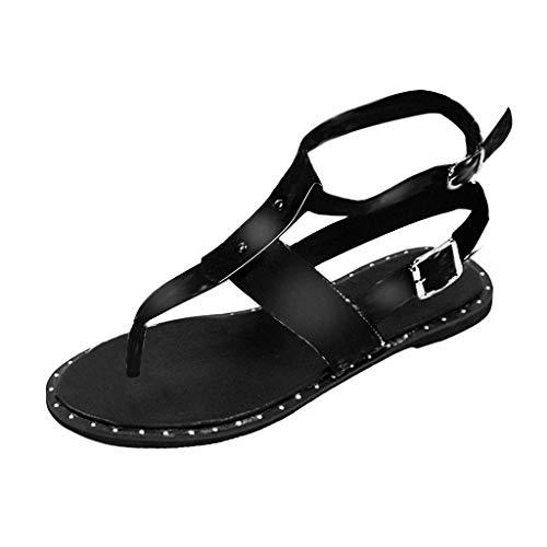 Sandals Flats for Women,✔ Hypothesis_X ☎ Summer Bohemian Sandals Open Toe Snake Pattern Buckle Roman Sandals Black -