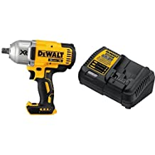 DEWALT DCF899B 20V MAX XR Brushless High Torque 1/2-Inch Impact Wrench with Detent Anvil & DEWALT DCB115 MAX Lithium Ion Battery Charger, 12V-20V