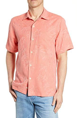 (Tommy Bahama Digital Palms Silk Camp Shirt (Color: Lt Havana, Size XXL))