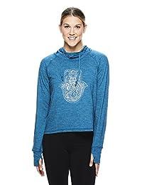 gaiam Women's Long Sleeve Graphic Yoga T Shirt - Activewear Top w/Open Back