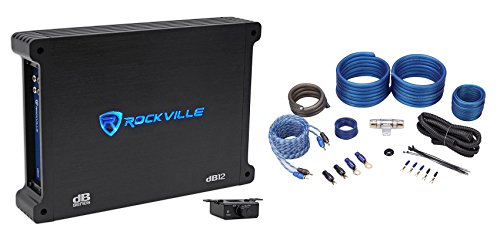 Rockville dB12 2000 Watt/1000w RMS Mono Class D 2Ohm Car Audio Amplifier+Amp Kit