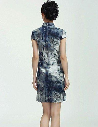 PU&PU Robe Aux femmes Gaine Vintage / Soirée , Imprimé Mao Mini Soie , screen color-s , screen color-s