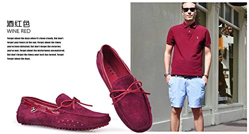 Happyshop (tm) Mens Mocassini In Vera Pelle Mocassino Mocassini Scarpe Da Guida Comfort Slip-on Penny Mocassini Vino Rosso