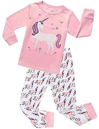 Girls Pajamas Clothes Sleepwear 100% Cotton PJS for Toddlers Children Kids Unicorn Style