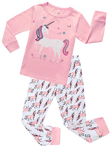 Girls Pajamas Clothes Sleepwear 100% Cotton PJS for Toddlers Children Kids Unicorn Style (Pink) (Unicorn, 6)