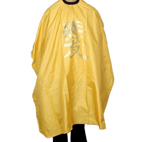 Pvc Gowns (Interlocking Buckle Elastic Neck Salon Hairdressing Cape Yellow PVC Gown Cloth)