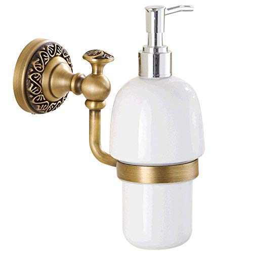 Leyden Antique Brass Finish Solid Brass Material Bathroom Soap & Lotion Dispenser Frosted Glass Bottle and Brass Holder