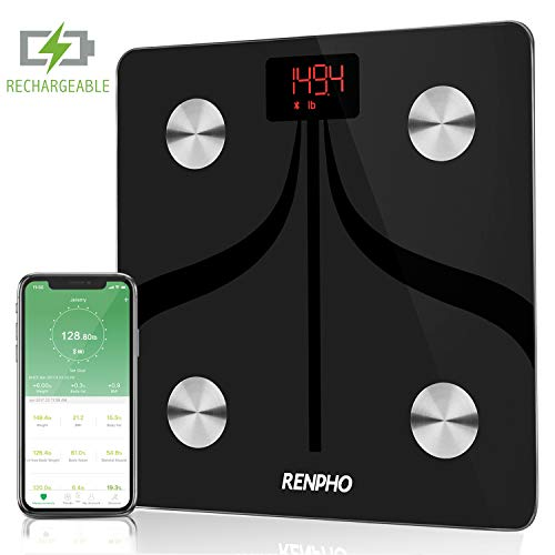 RENPHO Bluetooth Body Fat Scale USB Rechargeable Smart Digital Bathroom Scale with Smartphone App, Body Composition Monitor for Body Fat, BMI, Body Weight, 396 lbs Black