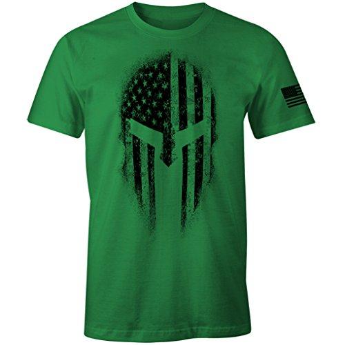 USA American Spartan Molon Labe Patriotic Men's T Shirt (Kelly Green, L)