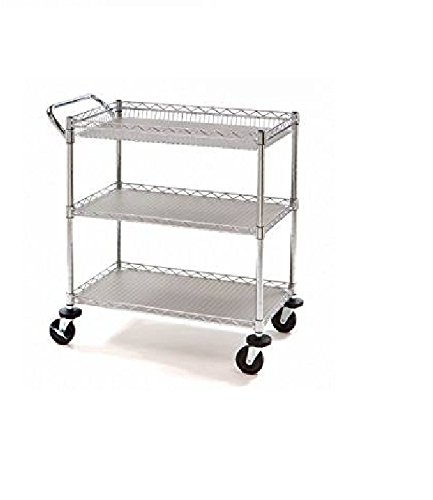 Utility Cart with Wheels Features Two Height Adjustable Shelves, Corner Bumpers and 4-Inch Caster Wheels, Zinc Plated Steel Finish, Perfect for Storage Organization in Any Rooms by Member's Mark