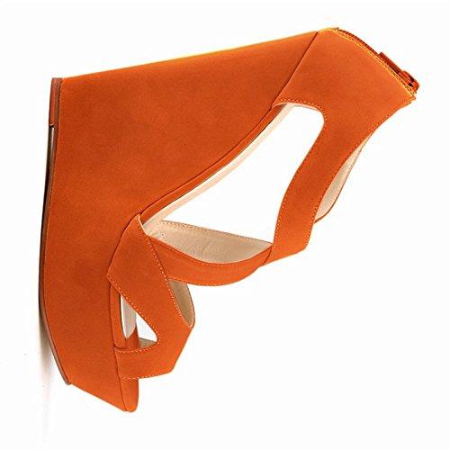 Hochhackige Sandalen - TOOGOO(R)Damen Absatzplattform Stiefel mit Beilaeufiger Pumpe Hochzeit Knoechelschuhe Orange 37