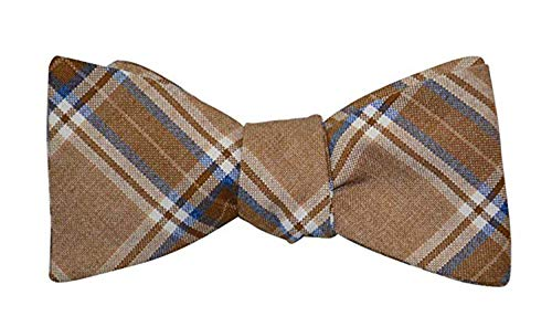 Mens Brown Blue Plaid Casual Formal Self-Tie Cotton Bow Tie Adjustable Length Bowtie, By The Ellis Tie Company