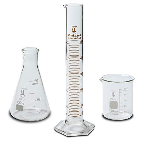 Beaker, Flask, and Cylinder Set, 3.3 Boro. Glass – 3 Pieces – 100ml Beaker, 150ml Flask and 50ml Cylinder, Karter Scientific 233R2