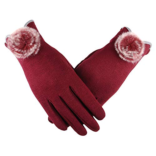 Pausseo Women Plus Velvet Winter Wild Warm Gloves, Lady Fur Furry Bow Touchscreen Mittens Fleece Thicken Plush Outdoor Mittens Students Knitted Wool Casual Solid Color Play Snow Glove