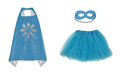Rush Dance Kids Children's Deluxe Comics Super Hero CAPE & MASK & TUTU Costume (Frozen Elsa (Turquoise (Superhero White Costume)