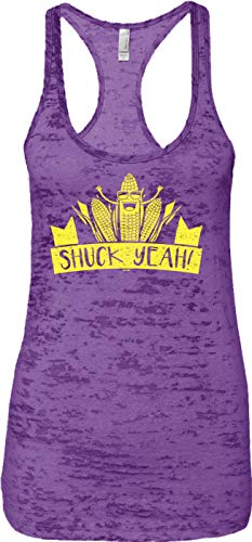 Blittzen Ladies Tank Shuck Yeah - Corny Pun - Farm Joke, S, Purple -