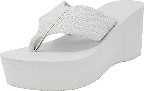 (Cambridge Select Women's Comfy Platform Flip Flop Sandal (7 B(M) US, Grey))