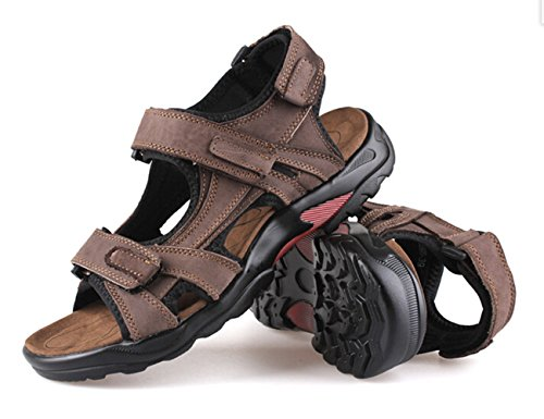 DADAWEN Mens Athletic Leather Strap Gladiator Outdoor Sandal Brown gurRB