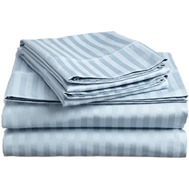 ELAINE KAREN COLLECTION STRIPED 4PC KING Sheet Set LIGHT BLUE