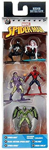 Nano Metalfigs Marvel Spider-Man 5-Pack (Spider-Man, Black Costume Spider-Man, Spider-Gwen, Vulture, and Green Goblin) 1.5 (Spider-gwen Costume Marvel Heroes)