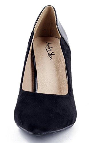 de AgeeMi Aguja Mujer Punta Puntera EN Sólido Tacón Negro de Shoes Salón 6YR6qwZ