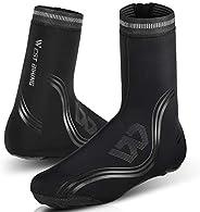 Waterproof Reflective Rain Shoe Cover, Cycling Thermal Fleece Warm Windproof Neoprene Rain Snow Boot Protector