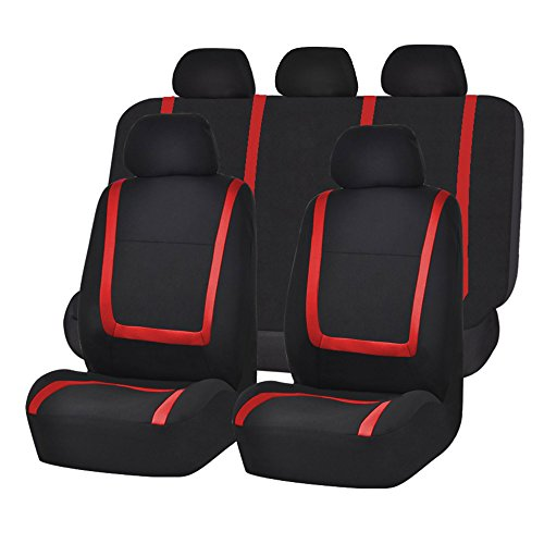 FH GROUP FH-FB032115 Unique Flat Cloth Seat Cover w. 5 Detachable Headrests and Solid Bench Red/Black- Fit Most Car, Truck, Suv, or Van