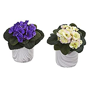 Nearly Natural 8148-S2-AS African Violet Artificial Marble Vase (Set of 2) Silk Plants Assorted 49