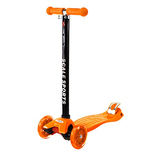 Orange Outdoor Kids Kick Scooter 3 Wheel Adjustable Height T-Bar Lean To Steer Ride On LED Wheels Up To 130 LB Age 5+
