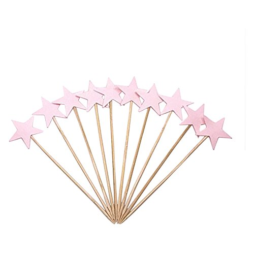LOLOAJOY 60pcs Star Cupcake Toppers Twinkle Twinkle Little Star Decorations Birthday Cupcake Toppers Glitter Gold Cupcake Toppers for Party Cake Pink by LOLOAJOY