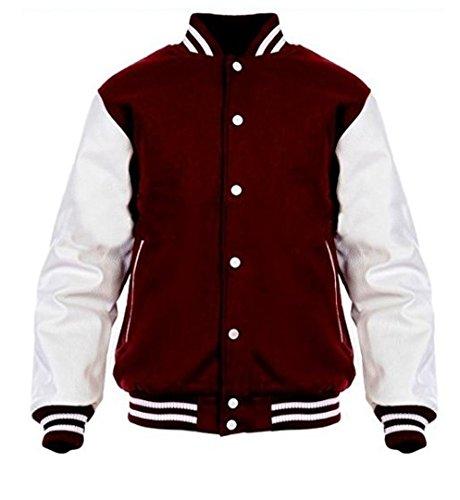 Original Windhound College Jacke bordeaux mit weißen Echtleder Ärmel S