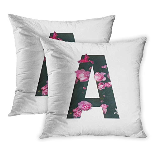 ver Set of 2, Unique Letter Alphabet Made of Real Blooming Flowers and Leaves Cut Floral Collection Project Cotton Creative Pillowcase (Two Sides) Great Festival Gift ()