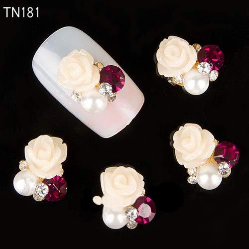 zsjhtc 10 Pcs Nail Art Designs Stickers 3D Rhinestone Decals Decorations Rose Flower Tips Studs for Women Kids Girls TN181-White ()
