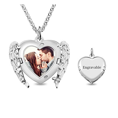 Jack-F Personalized Engraved Photo Necklace, Customized Angel Wings Sterling Silver Heart Picture Locket Necklace for ()