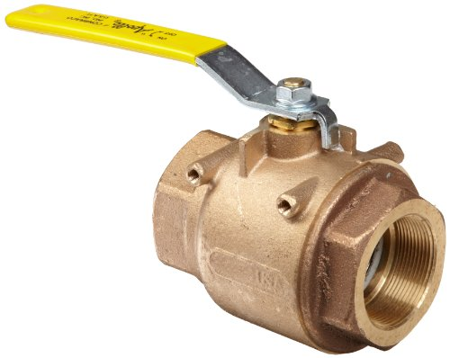 Apollo 77-100 Series Bronze Ball Valve with Actuator Mounting Pad, Two Piece, Inline, Lever, 3/8 NPT Female