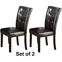 Set of Two Dark Brown Faux Leather Parson Chairs - Walnut Legs