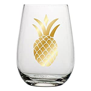 Gold Pineapple Wine Glass - 20 oz Stemless Wine Glass with Metallic Gold Printed Pineapple