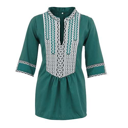 - Sunhusing Women's Deep V-Neck Bohemian Print Half Sleeve Tops Casual Beach Wind T-Shirt Green