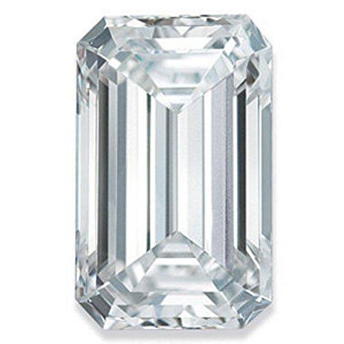(RINGJEWEL 2.64 ct VVS1 Emerald Cut Real Loose Moissanite Use 4 Pendant/Ring Genuine White I-J Color)