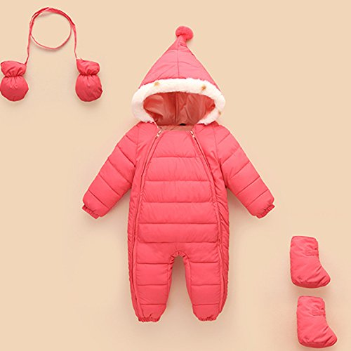 Outerwear Thick Months Snowsuit Winter Romper Happy Warm Cherry Baby Puffer 48 Jacket 6 Jumpsuit Hooded Pink Down qwWqzPZv1