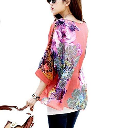 Mare Chiffon Donna Elegante Accogliente Pipistrello Blouse Top Casual Manica Shirts Estivi Ragazza Tunica 26 Stampato Bluse Chic Colour Leggero Relaxed Y7qwYrWP5