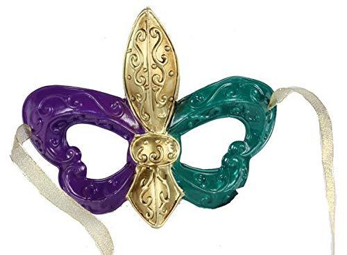 Craig Bachman Mardi Gras Mask Costume Play 7.5 Purple Green Gold Wreath Enhancement