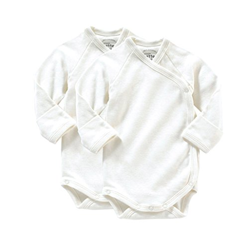 Giggle Long Sleeve Baby Body Set Of 2, Ivory, 3-6 (Organic L/s Bodysuit)