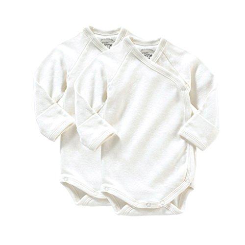 Giggle Long Sleeve Baby Body Set Of 2, Ivory, 3-6 (Organic L/s Bodysuit)