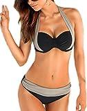 Arrowhunt Damen Mädchen Mischfarbe Neckholder Push Up Bikini Set (Label L/ DE 36-38, schwarz und Grau)