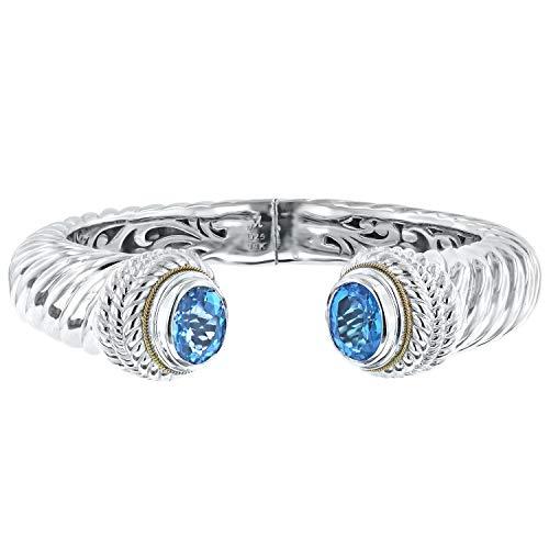 Robert Manse Designs Bali Romanse Gemstone Sterling Silver and 18K Gold Hinged Cuff Bracelet (Swiss-Blue-Topaz)