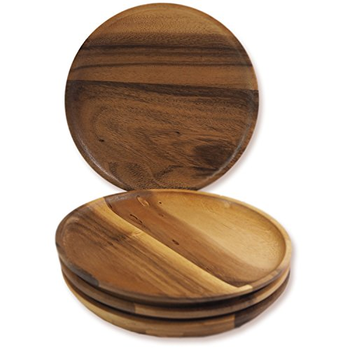 RoRo Round Acacia Wood Serving Charger Plates, 7 Inch Set of 4