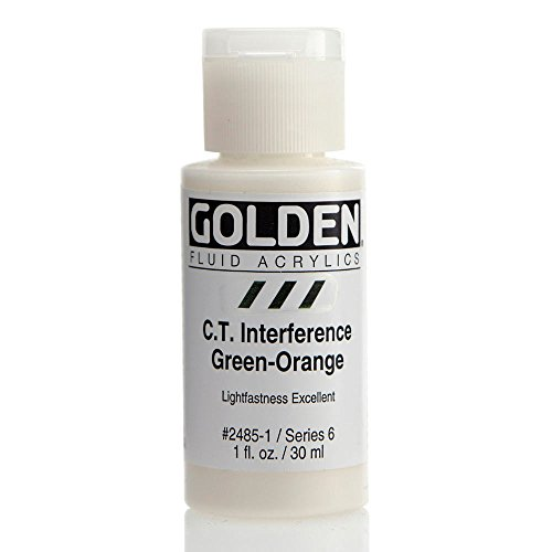 Golden Fluid Interference Acrylics - C.T. Interference Green-Orange - 1 oz (Interference Acrylic Paint)
