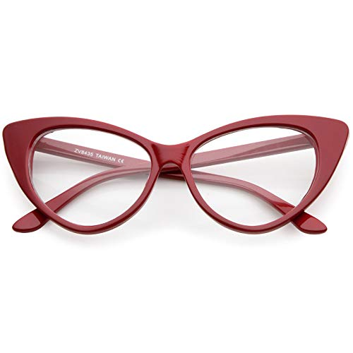 sunglassLA - Retro Linda Costume Cat Eye Glasses For Women Clear Lens 55mm (Red/Clear)