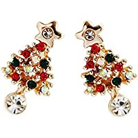 ERAWAN Fashion Women Christmas Tree Crystal Charm Ear Stud Earrings Xmas Party Jewelry EW sakcharn